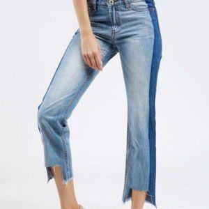 ZARA 2 Tone Cropped Jeans Uneven Hem 6